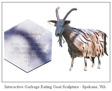 Gallery Image of  the Interactive Garbage Eating Goat Sculpture in Spokane, WA.